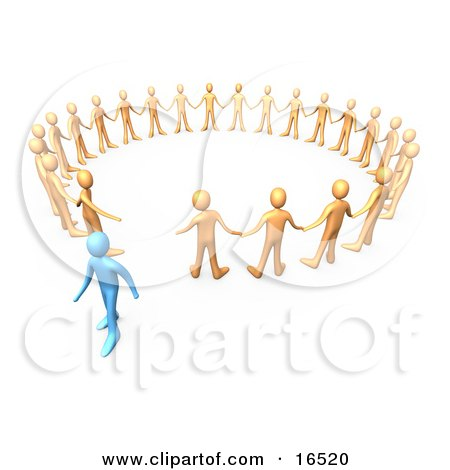 Blue Person Walking Away From A Circle Of Orange People, Symbolizing Different Beliefs, Quitting Or Being Fired Clipart Illustration Graphic by 3poD