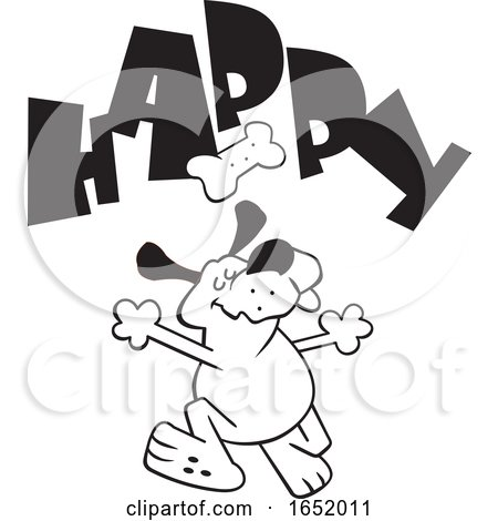 Cartoon Black and White Dog Dancing Under a Biscuit and Happy Text by Johnny Sajem