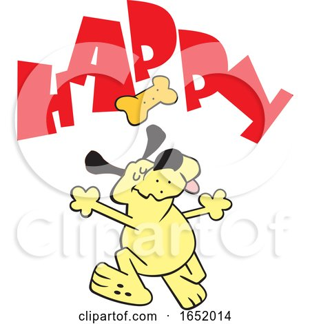 Cartoon Yellow Dog Dancing Under a Biscuit and Happy Text by Johnny Sajem