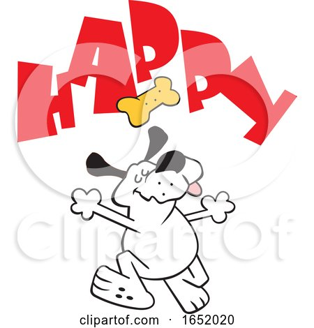 Cartoon Dog Dancing Under a Biscuit and Happy Text by Johnny Sajem