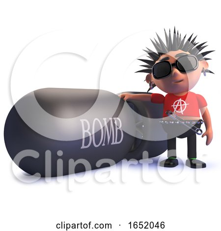 Cartoon Punk Rocker Kid in 3d Standing Next to a Nuclear Bomb by Steve Young