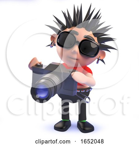 Cartoon 3d Punk Rocker Character Taking Pictures with a Camera by Steve Young