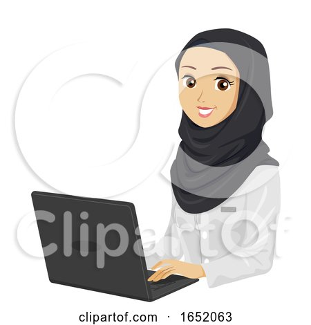 Teen Girl Medical Muslim Student Laptop by BNP Design Studio