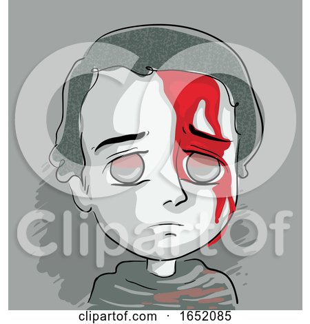 Kid Boy Blood Face Illustration by BNP Design Studio
