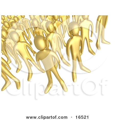 Crowd Of Gold People Standing Together, Symbolizing Teamwork And Unity  Posters, Art Prints