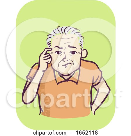 Man Senior Symptom Memory Loss Illustration by BNP Design Studio