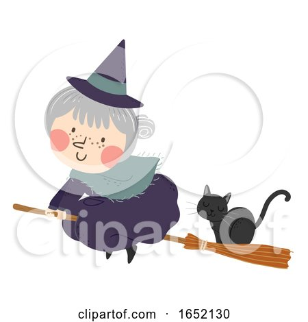 Witch Senior Cat Broom Illustration by BNP Design Studio