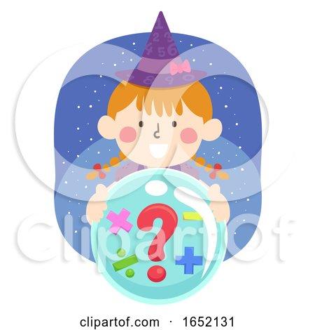Kid Girl Witch Math Operators Crystal Illustration by BNP Design Studio