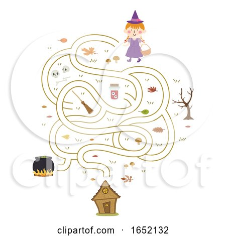 Kid Girl Witch to House Maze Illustration by BNP Design Studio