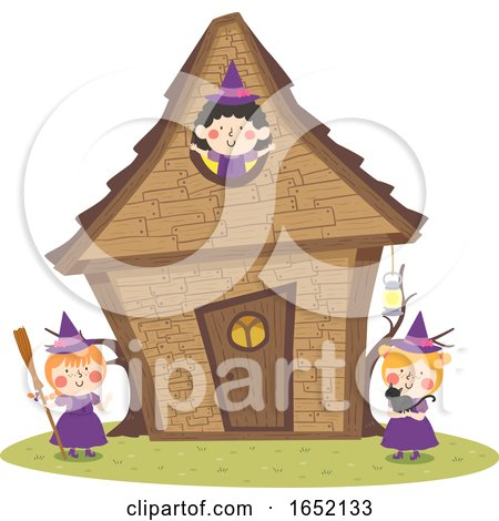 Kids Girls Witch House Illustration by BNP Design Studio