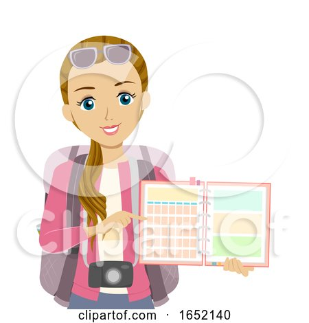 Teen Girl Planner Travel Illustration by BNP Design Studio