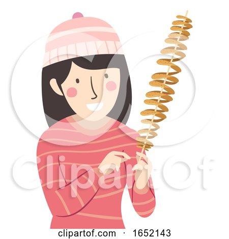 Girl Spiral Potato Snack Illustration by BNP Design Studio