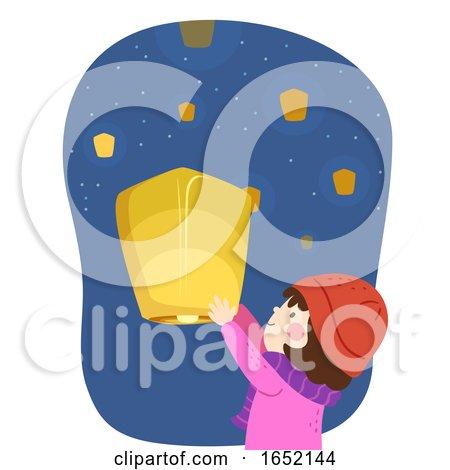 Kid Girl Advent Floating Lantern Illustration by BNP Design Studio