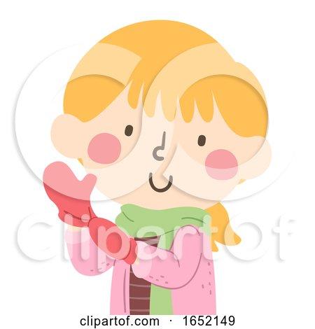 Kid Girl Wear Mittens Illustration by BNP Design Studio