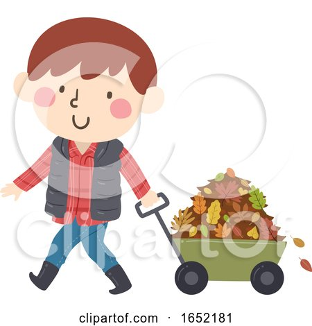 Kid Boy Wagon Collect Autumn Leaves Illustration by BNP Design Studio