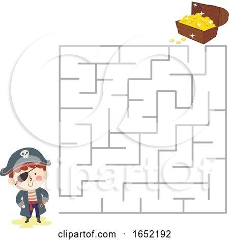 Kid Boy Pirate Maze Treasure Chest Illustration by BNP Design Studio