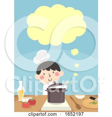 Kid Boy Chef Cook Speech Cloud Illustration by BNP Design Studio