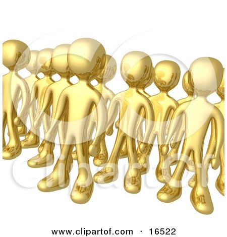 Group Of Gold Men Standing Proud In Rows Clipart Illustration Graphic by 3poD