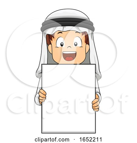 Kid Boy Qatari Blank Board Illustration by BNP Design Studio
