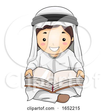 Kid Boy Qatari Read Book Illustration by BNP Design Studio