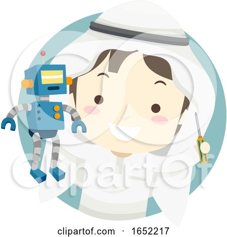 Kid Boy Qatari Robotics Mechanical Gear by BNP Design Studio
