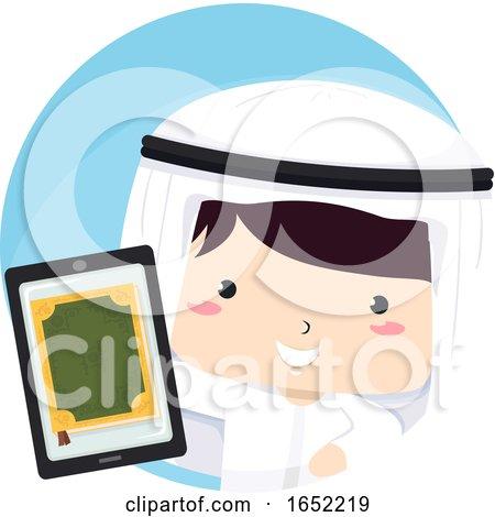 Kid Boy Qatari Tablet Quran Illustration by BNP Design Studio