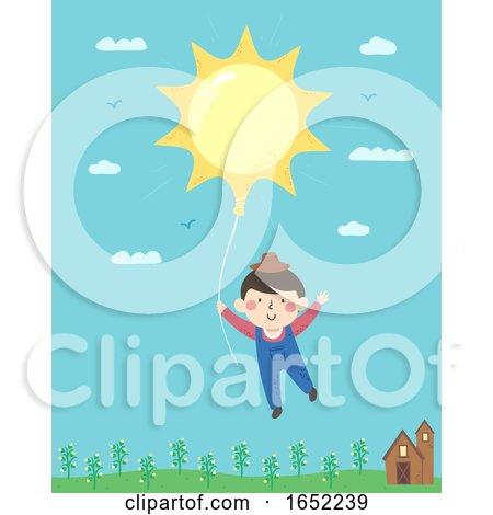 Kid Boy Farmer Sun Balloon Illustration by BNP Design Studio