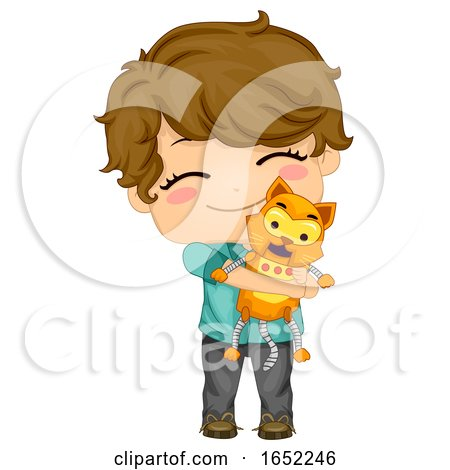 Kid Boy Robot Cat Pet Illustration by BNP Design Studio
