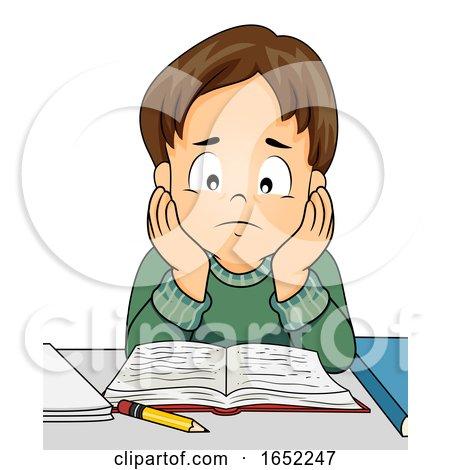Kid Boy Study Stressed Illustration by BNP Design Studio