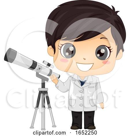 Kid Boy Astronomer Illustration by BNP Design Studio