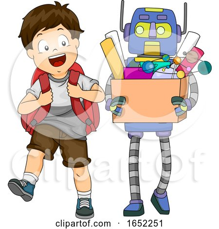 Kid Boy Robot Assistant School Illustration by BNP Design Studio