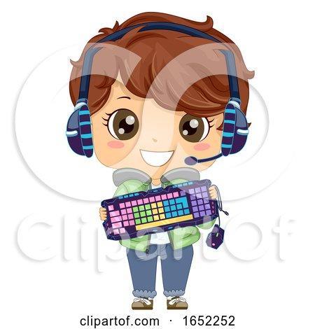 Kid Boy Online Gamer Gadgets Illustration by BNP Design Studio