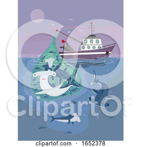 Fisherman Catch Sharks Illustration by BNP Design Studio