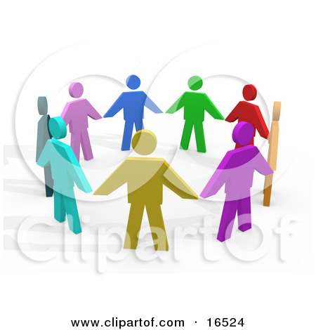 Colorful Circle Of Diverse People Holding Hands, Symbolizing Teamwork And Unity  Posters, Art Prints