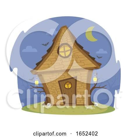 Witch House Night Illustration by BNP Design Studio
