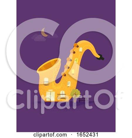 Saxophone Jazz Building Illustration by BNP Design Studio