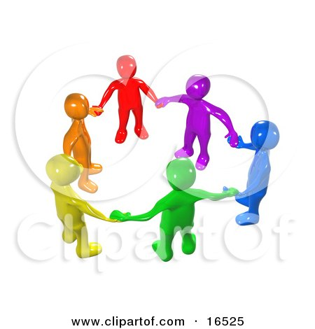 a diverse circle of colorful people holding hands, symbolizing teamwork,