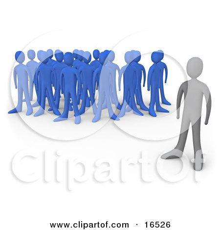 Gray Person Standing Alone Near A Crowd Of Blue People, Symbolizing Leadership, Depression, Uniqueness, Etc Clipart Illustration Graphic by 3poD