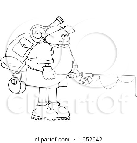 Cartoon Black and White Man Wearing a Backpack with Fishing Gear by djart