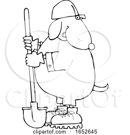 Cartoon Black and White Dog Worker with a Shovel by djart