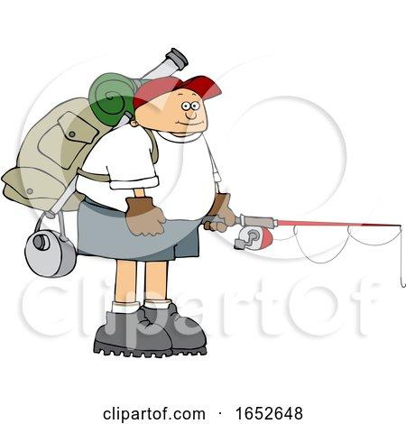 Cartoon Man Wearing a Backpack with Fishing Gear by djart