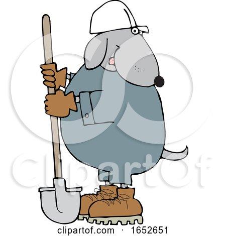 Cartoon Dog Worker with a Shovel by djart