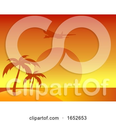 Abstract Summer Island with Palm Trees and Airplane by elaineitalia