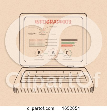 Infographic on Hand Drawn Style Laptop Computer by elaineitalia