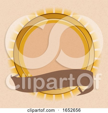 Sun Shield and Blank Banner on Brown Paper Background by elaineitalia
