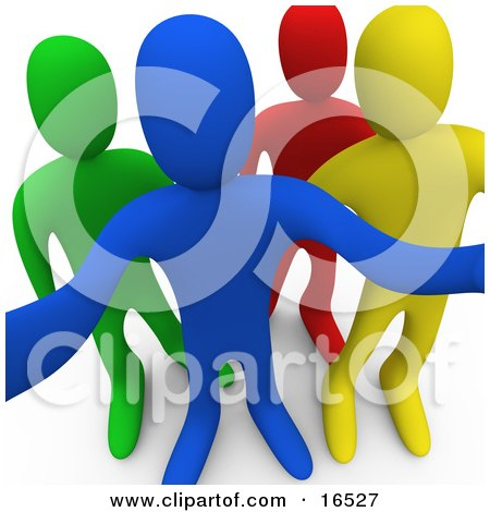 Blue, Yellow, Red And Green Person Looking Outwards Curiously Clipart Illustration Graphic by 3poD