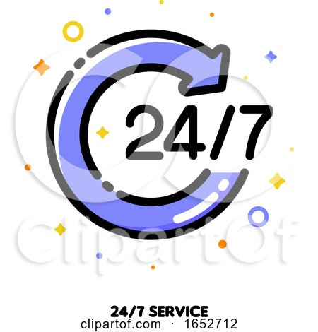 Icon of Round Arrow with 24/7 Numbers by elena