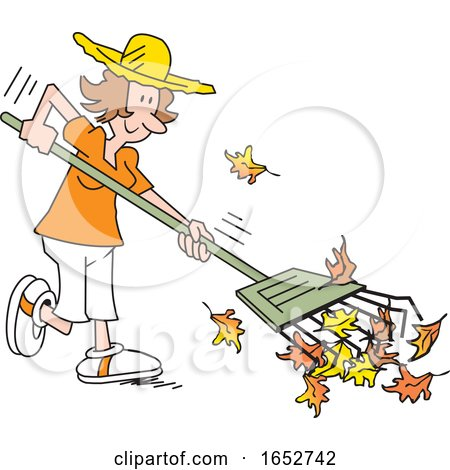 Happy White Woman Raking Leaves by Johnny Sajem