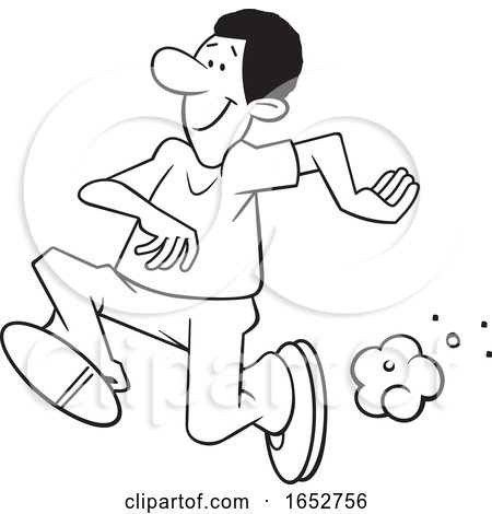 Cartoon Lineart Black Man Running by Johnny Sajem