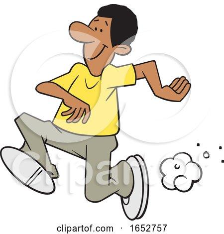 Cartoon Black Man Running by Johnny Sajem